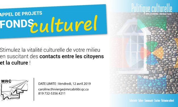 LA MRC D'ABITIBI LANCE L'APPEL DE PROJETS DE SON FONDS CULTUREL 2019